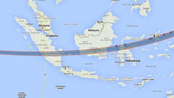 Trajectory Solar Eclipse 2016